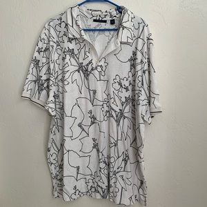 Perry Ellis men's floral outline polo XXL